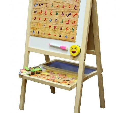 تخته وایت برد و بلک برد پایه دار دو رو با حروف مگنتی